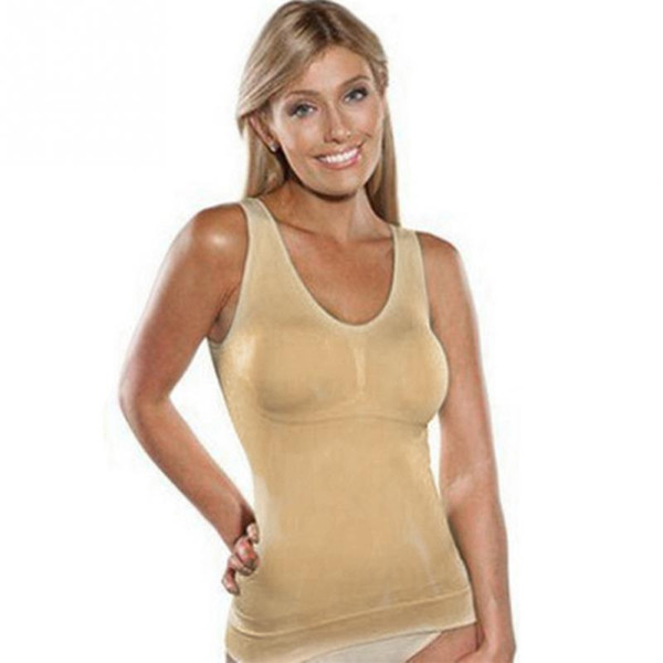 9324f34fa6bb2 Wholesale- Super Thin Seamless Tank tops Slim Women Up Lift Bra Shaper tops  Body Shaping Camisole Corset Waist Slimming shapers