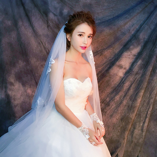 Y-O20 Wholesale Veils High Quality Real photos Purple White Netting Veils of Bridal Tulle with good lace Fast Free shipping out Veils