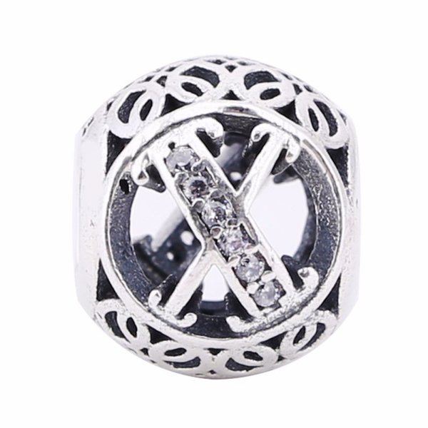 Fashion Silver Bead Letter X Shape With Clear Crystal Charm 925 Sterling Silver Beads Fit European Bracelets DIY Jewelry Making