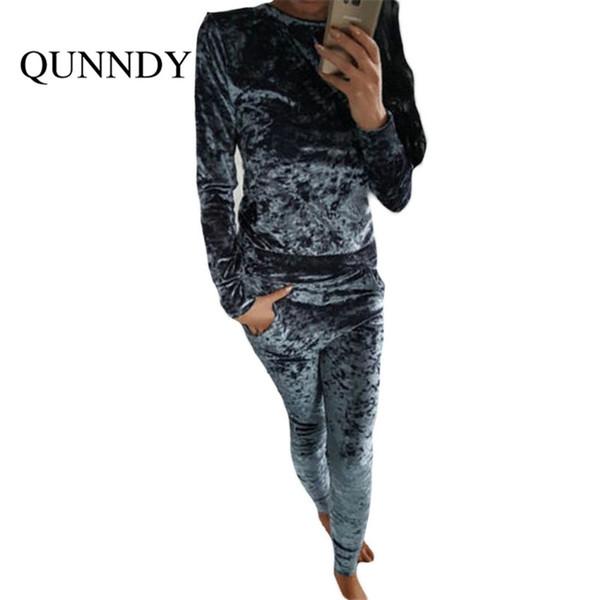 Wholesale- fitness Velvet Jumpsuit rompers UKraine 2017 women tracksuit long sleeve soild Two Piece jumpsuits combinaison femme plus size