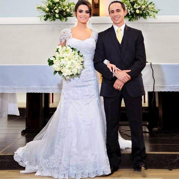 Vestido De Noiva 2019 Cheap Mermaid Lace Long Sleeve Muslim Wedding Dress Romantic Tulle Appliques Sweep Train Bridal Gowns