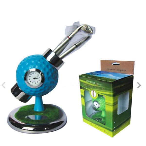 Wholesale- personalized golf ball design desktop golf pen and pen holder golf watch gift with mini club pen