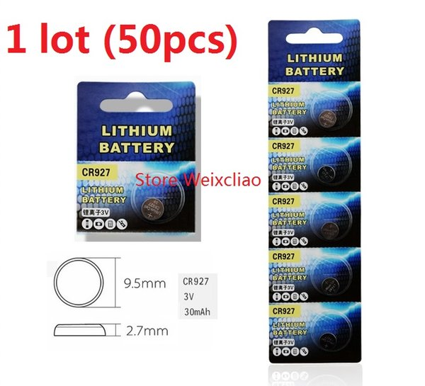 50pcs 1 lot CR927 3V lithium li ion button cell battery CR 927 3 Volt li-ion coin batteries Free Shipping