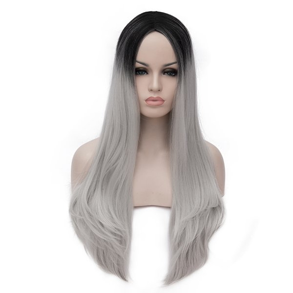 no lace Daily wigs Cosplay Hair Peruca Pelucas Harajuku Lolita Cosplay Wigs Long Wavy Curly Silver Black Ombre Anime Party Hair Peruca Femin