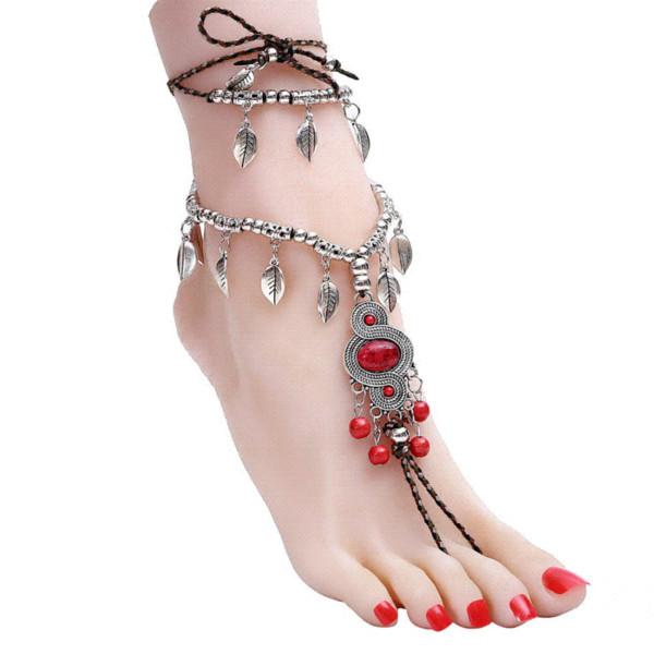 Vintage Anklet Argent Cheville Bracelet Sexy Rouge Perles Sandales Pieds Nus Femmes Pied Bijoux 1 PC Plume Tassel Pendentif