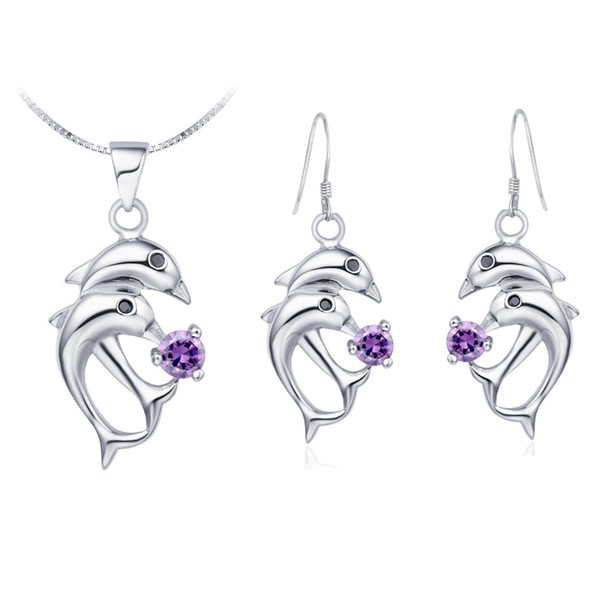 Wholesale trade NEW pendant Necklace earring Jewelry Set diamond suit suit suit made of 925 Silver Dolphin