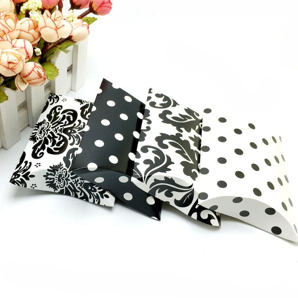 50Pcs/lot Dot Pillow Shape Retro Pattern Wedding Favor Gift Box Party Wedding Favor Holder Chocolate Candy Bags With Ribbon