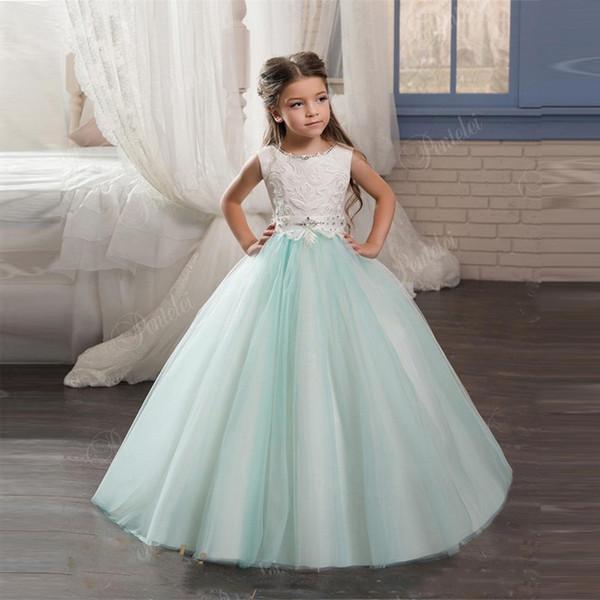 Nuova moda vendita calda per bambini abiti da sera con scollo rotondo e pizzo indietro cristalli di perline menta fiore ragazze abiti su misura