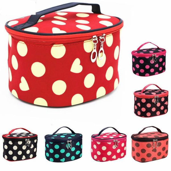 Makeup HandBag for Travel Cosmetic Case Handbag Women Little Girl for Outside Big Volume Circle dot Type Makeup Box Zipper bag213 DHL