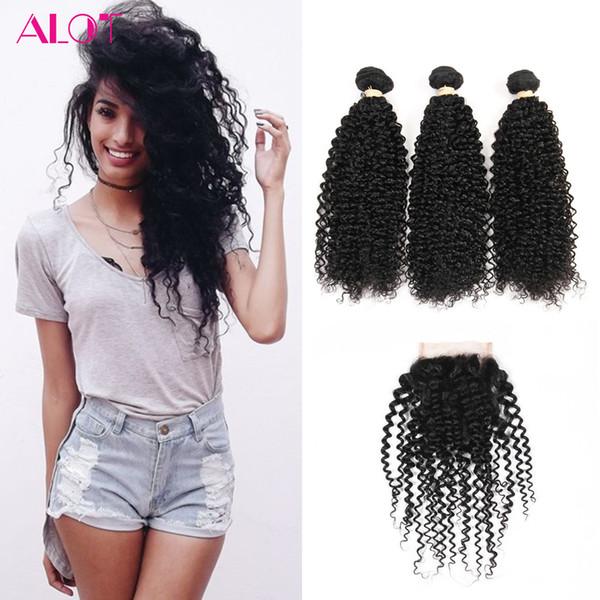 ALOT Grade 8A Brazilian Virgin Human Hair Bundles Kinky Curly Hair 3 Bundles with Lace Closures 100% Unprocessed Human Hair Extensions