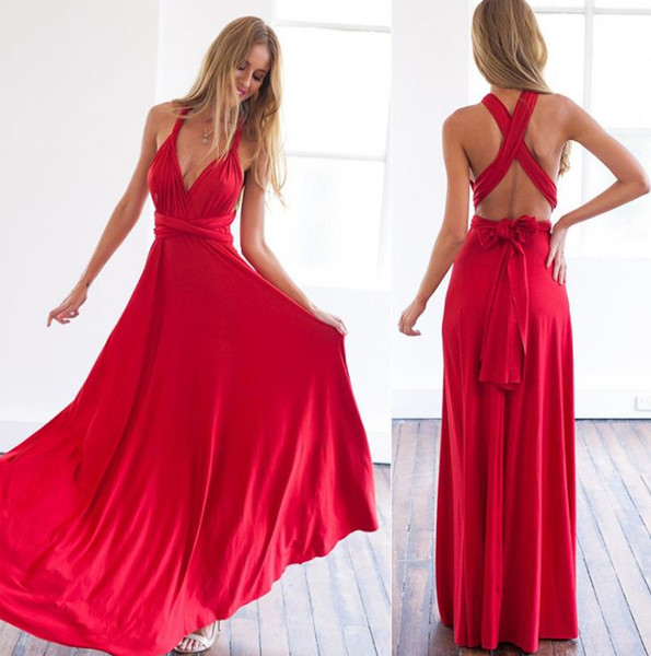 2017 Red Chiffon V Neck Prom Dresses Beach Open Back Spaghetti Straps Long Women Formal Maxi Evening Gowns Holiday Floor Length Cheap