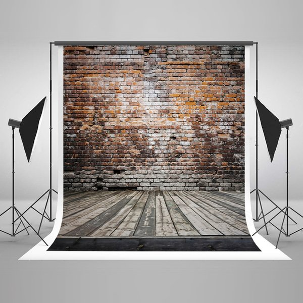 5x7ft(150x220cm) Vintage Brown Brick Wall Photography Backgrounds Gray Wood Floor Photo Backdrops Wrinkles Free