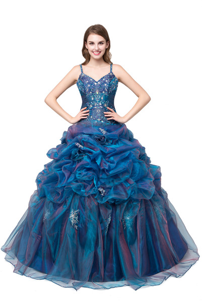 New Cheap Stock Purple Quinceanera Dresses Ball Gown For 15 Party Sweet 16 Formal Long Prom Party Gowns Stock Size 2-16 QC211