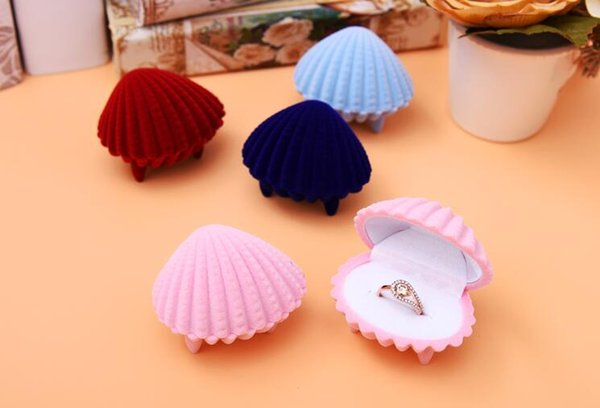 6Pcs/Lot Pink Shell Velvet Jewelry Ring/ Earring Gift Packaging Display Box For Wedding Jewelry Boxes 2017