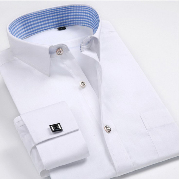Wholesale- Luxury French cuff Button MENS Dress Shirt 2016 New Fashion Non Iron Long Sleeve slim striped High Quality Business formal Shirt