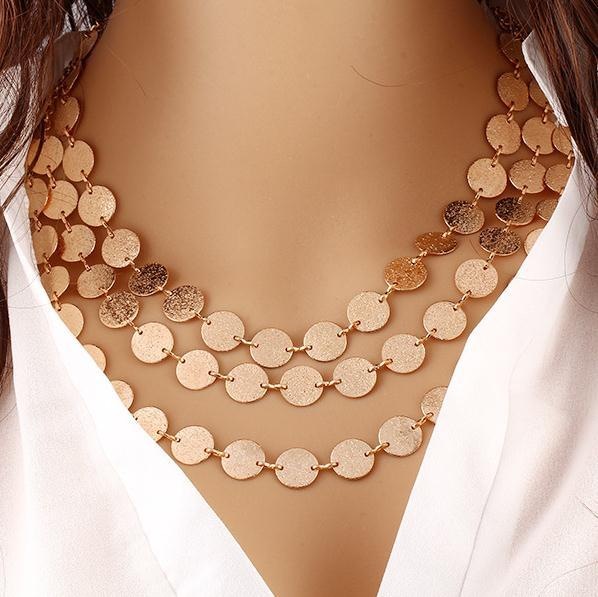 Fashion Womens Gold Metal Coins Multilayer Chunky Statement Bib Pendant Necklace