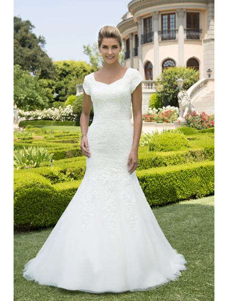 Sereia Do Vintage Vestidos De Casamento Modesto Com Mangas Cap Rendas Apliques Rainha Anne Pescoço Botões Voltar Vestidos De Noiva Vestido De Noiva Novo