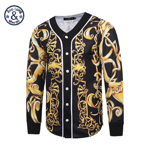 Wholesale- Mr.BaoLong&Miss.GO New Design Baroque Style Men Jackets and Coats Hip Hop 3D Print Gold Flower Women Men's Outwear Cardigan
