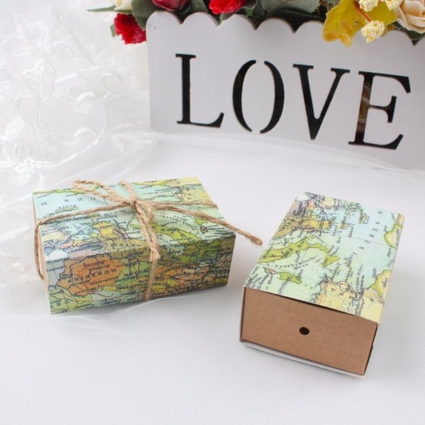 Novelty world map gift box for christmas decorations kraft paper 100pcs novelty world map gift box for christmas decorations kraft paper candy boxes for guests wedding gumiabroncs Image collections
