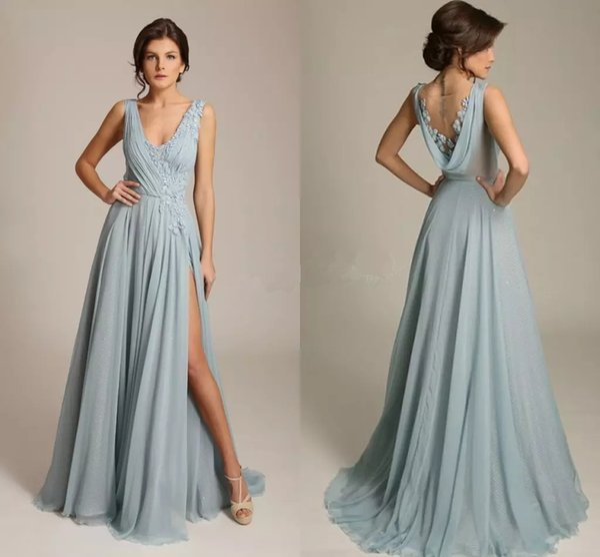 2017 vestidos de noche azul polvoriento con cuello en V sin mangas apliques gasa drapeada espalda alta sexy vestidos de noche formales barrer el tren