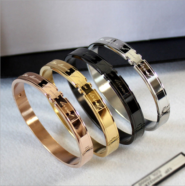 best selling New Korean Fashion Couple Bracelet Couple Titanium Steel Rose Gold Bracelet Love Oath Bracelet wholesale free shipping