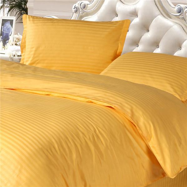 Großhandels-100% Baumwollbettbezug-gesetztes Bettwäsche-Set AUS UK-USA-Zwilling in voller Größe, schließen Bettbezug und Kissenkasten, 1cm Satin goldene Farbe mit ein