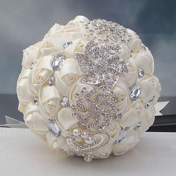 Elfenbein Hochzeit Bouquets Rose Künstliche Süße 15 Quinceanera Bouquet Kristall Seidenband New Buque De Noiva 37 Farben W228-B Kostenloser Versand