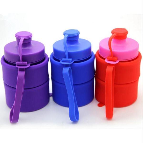 Bouteilles d'eau pliantes en silicone tasse pliable en silicone respectueux de l'environnement sceau pliant tasses sport bouteille portable 7 couleurs OOA1562
