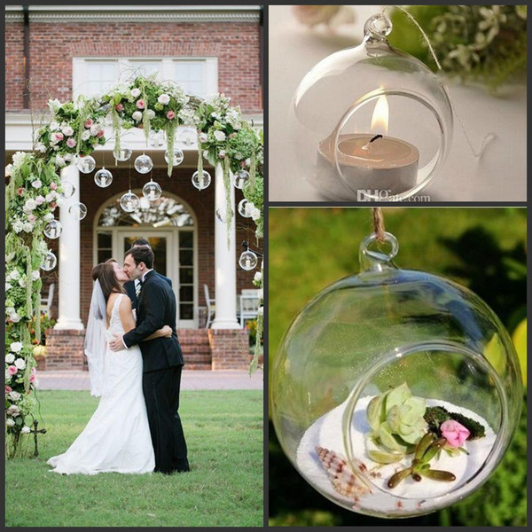 top popular Hanging Type Spherical Glass Candle Holder For Wedding Home Furnishing Decoration Electronic Candle Optional Glass Candlestick 2021