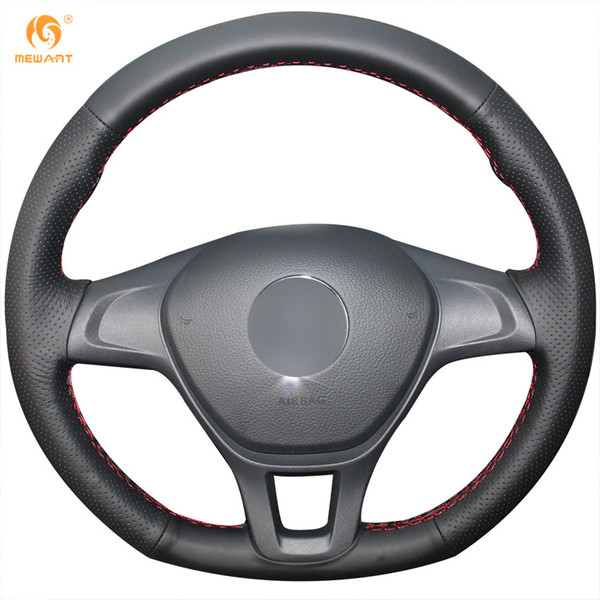 MEWANT Black Genuine Leather Car Steering Wheel Cover for Volkswagen VW Golf 7 Mk7 New Polo 2014-2017