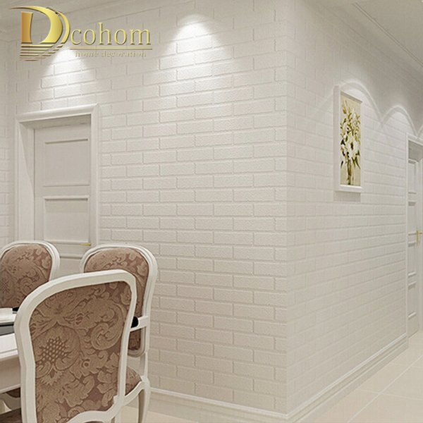 Wholesale-PVC/Vinyl Thickening white brick wallpaper for walls rustic TV background brick wall paper rolls, Papel de parede R211