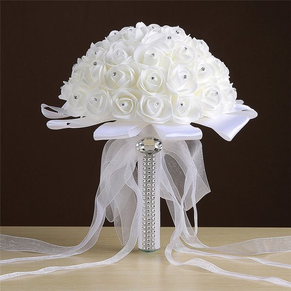 2017 Ivory Wedding Bouquet Bridal Decorations with Ribbon Organza Bow Crystal Foam Pearls White Bride Hand Holding Flowers