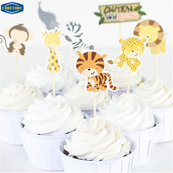 Wholesale- [CHICCHIC] Cartoon Wild Animal Park 24pcs a Set Cupcake Toppers Fruit Picks Cake Flags Baking Decoration with Toothpicks QH0030