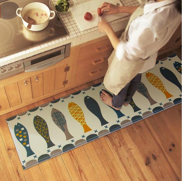 12 Stili Modern Coral Velluto Tappetino da cucina Acqua traspirante Assorbente Anti Silp Ware Pesce Cucina Tappeto di alta qualità