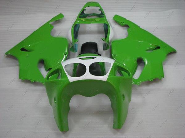 Carrocería Zx-7r 1999 Carenados de plástico Zx7r 00 01 Kits de cuerpo verde blanco Zx 7r 2001 1996 - 2003