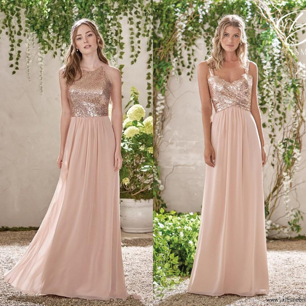 best selling Cheap Rose Gold Sequins Top Long Chiffon Beach 2020 Bridesmaid Dresses Halter Backless A Line Straps Ruffles Blush Pink Maid Of Honor Gowns