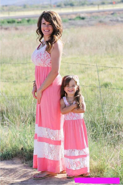 top popular 2017 Family Matching Outfits Mother And Daughter Summer Sleeveless Dresses Lace Pactwork Dress Kids Parent Child Outfits 2019