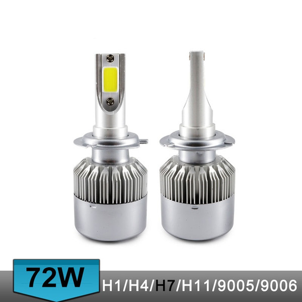 top popular C6 Auto Led Headlight Bulbs H7 H1 H4 72W 7600LM COB Chip 3000k 6000k Car LED Headlamp Lamp for halogen HID Bulb S2 H11 H3 2021