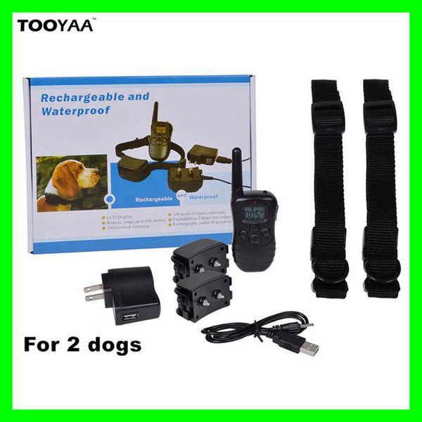 998DR 300M Rechargeable Waterproof Anti Barking Pet Dog Training Collars with LCD Dispaly 100LV 300Yard Shock Vibration Pets Training Tools