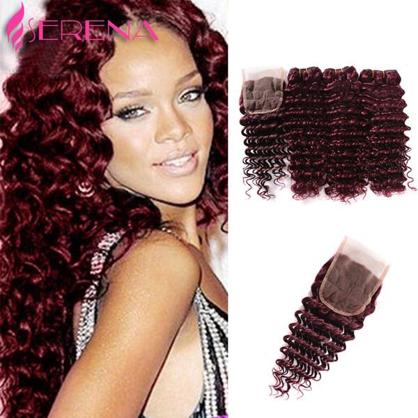 Extensiones de cabello rojo 99j profunda rizado Virgen 4pcs brasileño peruano malasio indio al por mayor del pelo humano 7a brasileño armadura del pelo paquetes