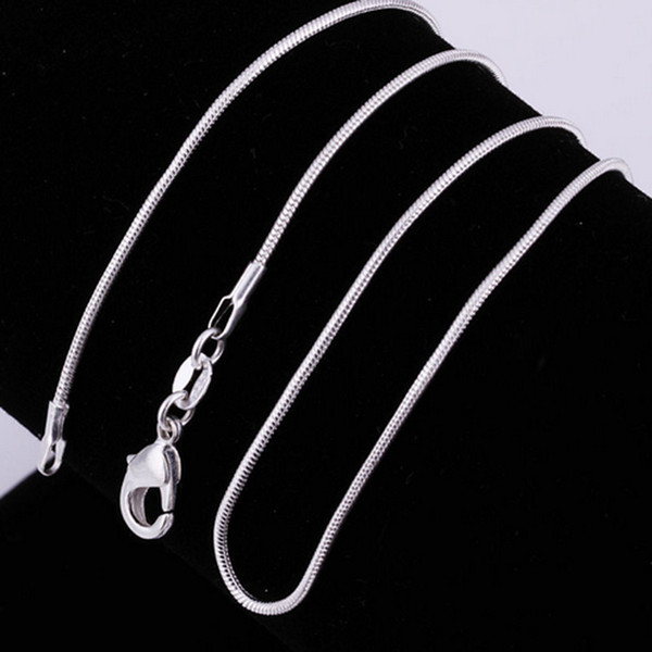 925 Sterling silver smooth snake Chains Necklaces For women Fashion Jewelry Lobster clasp 1MM Snake chain Size 16-30 inch Hot sale