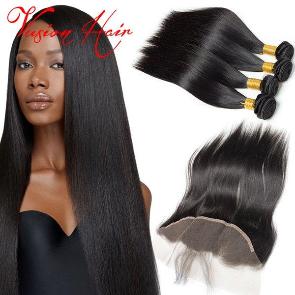 4 bundles Straight human hair with 1 bundle lace frontals unprocessed Brazilian Virgin Hair natural black cheap hair weaves extensions sale
