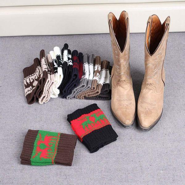 Women Winter Knitted Leg Warmer Socks Christmas Elk Deer Boot Cover Cuffs Gaiters Short Socks 20 Styles 100Pairs OOA3623