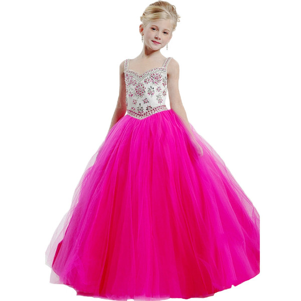 Elegant Beaded Crystal Blue Hot Pink Little Girl Pageant Dresses ...