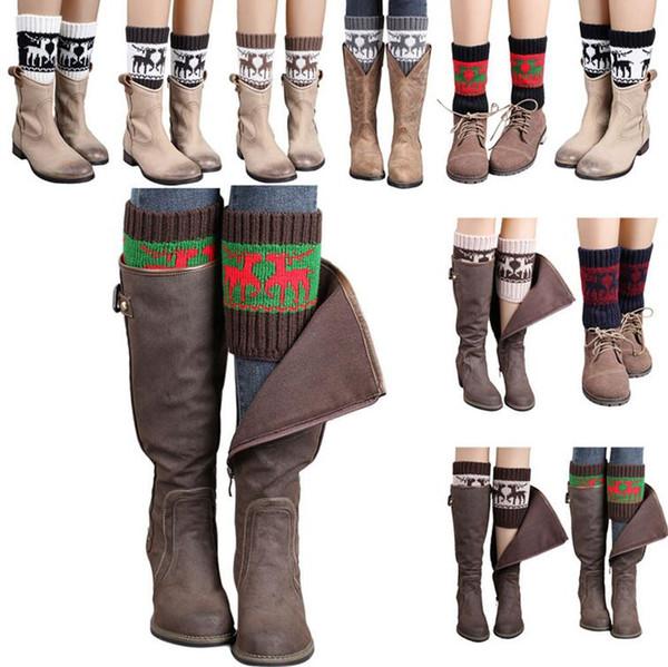 Frauen Winter gestrickte Beinwärmer Socken Weihnachten Elch Deer Boot Cover Manschetten Gamaschen kurze Socken 20 Arten OOA3623