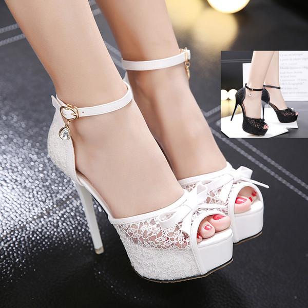 Elegant bride white bowtie lace wedding shoes women high heels ankle strap peep toe platform pumps black size 34 to 39