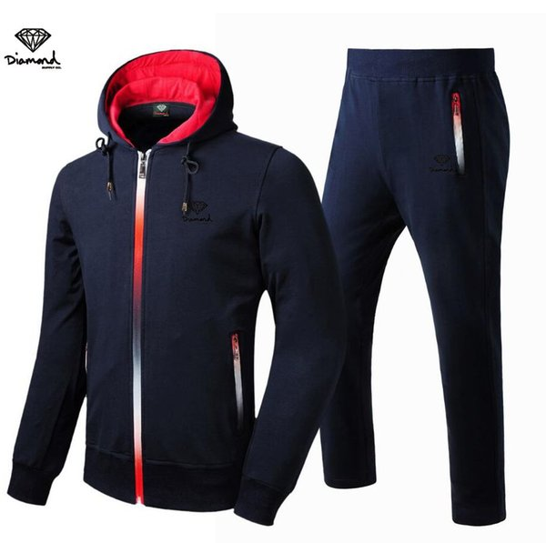A364431 Fashion style Diamond Supply men's sweat zipper suit outdoor hip hop clothing casual sportswear,free shipping s-3xl