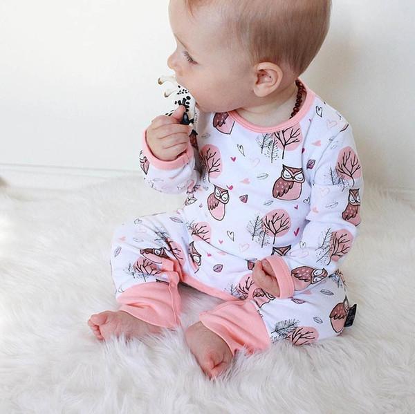 INS Bebekler Romper Bahar Yaz Bebek Kız Gece Baykuş Baskılı Romper Bebek Boys Pamuk Giyim Setleri Yenidoğan Uzun Kollu Tulumlar