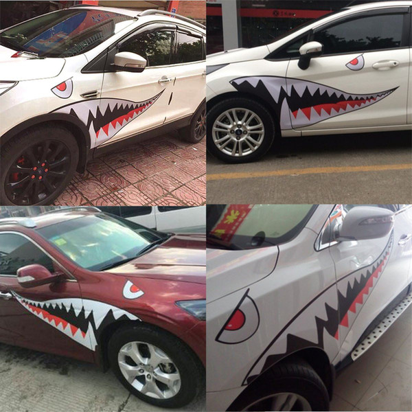 2019 Red Grey Shark Mouth Tooth Teeth Reflective Sticker Vinyl Auto Car Cool Refiting Exterior Decal For Side Door Car Styling From Sunny16888 1408