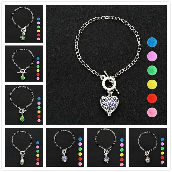 Fashion Multi 8 Styles Heart Perfume Essential Oil Diffuser Open Locket Charms Bracelet Copper Metal Jewelry Aromatherapy Pendant 6 pads